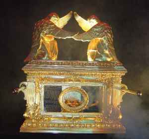 Cherubim covering the Mercy Seat of The Ark of the Covenant