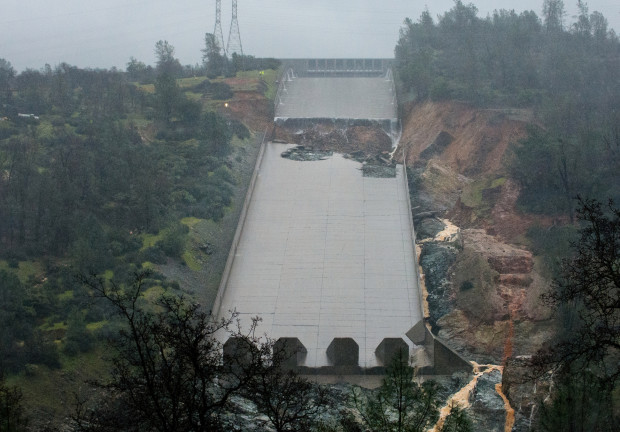 The California Department of Water Resources stopped the spillway flow on Thursday morning to allow engineers to evaluate the integrity of the structure after water had been released at 20,000 cubic feet per second through the night. (Courtesy of the California Department of Water Resources).